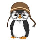 De affiche met het portret van de pinguïn die de motorfietshelm dragen Vector illustratie Stock Afbeelding