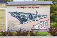 De affiche met de regeling van het Astrakan het Kremlin Stock Fotografie