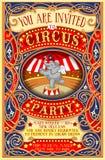 De affiche nodigt voor Circuspartij uit met Elephnant Stock Afbeelding