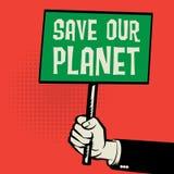 De affiche ter beschikking, bedrijfsconcept met tekst bewaart Onze Planeet royalty-vrije illustratie