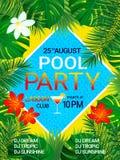De affiche Tropische achtergrond van de poolpartij met tekst De zomerontwerp Tropische bloemen, exotische bladeren, zwembad, cock vector illustratie