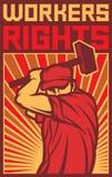 De affiche van arbeidersrechten Stock Foto