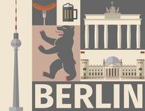 De affiche van Berlijn Vlak pictogram Royalty-vrije Stock Foto's