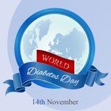 De affiche van de de dagvoorlichting van de werelddiabetes met blauw lint Royalty-vrije Stock Fotografie