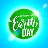 De Affiche van de aardedag Vectorillustratie van groene planeeteco Stock Fotografie