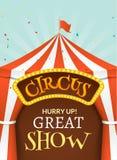 De affiche van de circustent Gebeurtenis van de circus retro uitnodiging De vectorillustratie van pretcarnaval Vermaakprestaties royalty-vrije illustratie