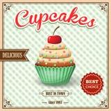 De affiche van de Cupcakekoffie Stock Foto's