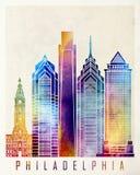 De affiche van de de oriëntatiepuntenwaterverf van Philadelphia royalty-vrije illustratie