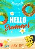 De Affiche van de de Vakantieclub van het de zomerstrand royalty-vrije illustratie