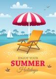 De affiche van de de zomervakantie Stock Foto