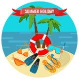 De affiche van de de zomervakantie met tropisch eiland en reizende toebehoren vector illustratie