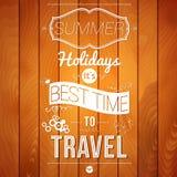 De affiche van de de zomervakantie op een houten achtergrond. Royalty-vrije Stock Foto