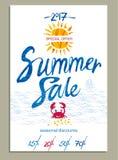 De affiche van de de zomerverkoop met mariene thema's Royalty-vrije Stock Afbeelding