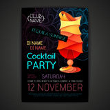 De affiche van de discococktail party 3D cocktailontwerp Stock Fotografie