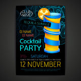 De affiche van de discococktail party 3D cocktailontwerp Royalty-vrije Stock Afbeeldingen