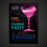 De affiche van de discococktail party 3D cocktailontwerp Royalty-vrije Stock Fotografie