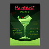 De affiche van de discococktail party 3D cocktailontwerp Stock Foto's