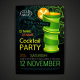 De affiche van de discococktail party 3D cocktailontwerp Royalty-vrije Stock Foto's