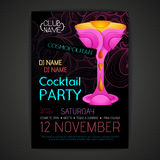 De affiche van de discococktail party 3D cocktailontwerp Royalty-vrije Stock Foto