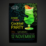 De affiche van de discococktail party 3D cocktailontwerp Royalty-vrije Stock Afbeelding