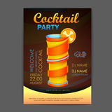 De affiche van de discococktail party 3D cocktailontwerp Stock Afbeeldingen