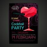 De affiche van de discococktail party Gelukkige Valentijnskaart Royalty-vrije Stock Afbeeldingen
