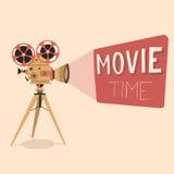 De affiche van de filmtijd De vectorillustratie van het beeldverhaal Bioskoopfilm Stock Foto's