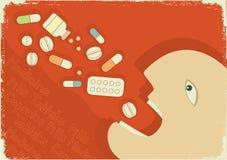 De affiche van de geneeskunde met de mens en pillen. Vector grunge Stock Afbeeldingen