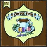De affiche van de koffietijd Stock Foto