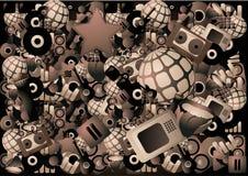 De affiche van de muziek met honderden elementen Stock Afbeeldingen