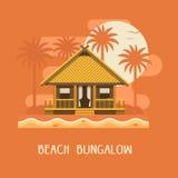 De Affiche van de strandbungalow Stock Foto