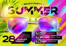 De Affiche van de strandpartij voor Muziekfestival Elektronische Muziekdekking FO royalty-vrije illustratie
