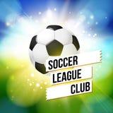 De affiche van de voetbalvoetbal Heldere bokehachtergrond, typografiedesi vector illustratie