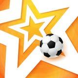 De affiche van de voetbalvoetbal Heldere oranje achtergrond, witte ster en Royalty-vrije Stock Afbeeldingen