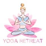 De affiche van de yogaterugtocht, vrij jonge meisje het praktizeren lotusbloem stelt in een reuzelotusbloembloem, waterverf met h royalty-vrije illustratie