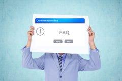De affiche van de zakenmanholding met pop omhooggaande vakje van FAQ Royalty-vrije Stock Fotografie