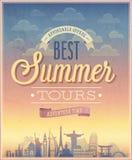 De affiche van de zomerreizen Stock Foto's