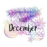 De affiche van Hello December met snowlakes, Kerstmis roys en boom Motievendruk voor kalender, zweefvliegtuig, uitnodigingskaarte royalty-vrije illustratie