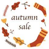 De affiche van de de herfstverkoop van het Webbanner van kortingspromo voor het herfst seizoengebonden winkelen van esdoornblad,  royalty-vrije illustratie
