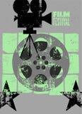 De affiche van het filmfestival Retro typografische grunge vectorillustratie Stock Afbeelding