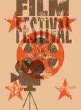 De affiche van het filmfestival Retro typografische grunge vectorillustratie Royalty-vrije Stock Foto