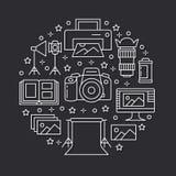 De affiche van het fotografiemateriaal met vlakke lijnpictogrammen Digitale camera, foto's, verlichting, videocamera's, fototoebe stock illustratie