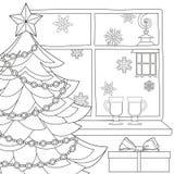 De affiche van het Kerstmisthema met Kerstmisboom, ster, slingerlicht, sneeuwvlokken, overwogen wijn en straatlantaarn Stock Afbeeldingen