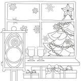De affiche van het Kerstmisthema met Kerstmisboom, ster, slingerlicht, sneeuwvlokken, stelt, overwogen wijn, straatlantaarn voor Stock Foto