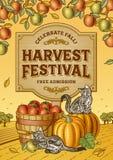 De Affiche van het oogstfestival Stock Foto