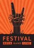 De Affiche van het rotsfestival met een gitaar Royalty-vrije Stock Afbeelding