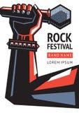 De affiche van het rotsfestival met microfoon vector illustratie