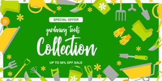 De affiche van het tuinontwerp met het tuinieren hulpmiddelen op groene achtergrond Speciale aanbieding Tot 50 van verkoop royalty-vrije illustratie