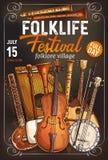De affiche van het volksmuziekfestival met muzikaal instrument royalty-vrije illustratie