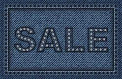 De affiche van de jeansverkoop met lovertjes en steken Stock Afbeeldingen